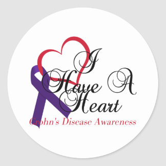I Have A Heart Crohn's Disease Awareness Classic Round Sticker
