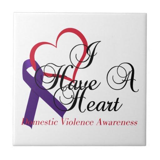 I Have A Heart Domestic Violence Awareness Ceramic Tile