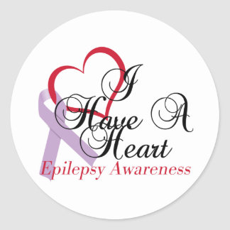 I Have A Heart Epilepsy Awareness Classic Round Sticker