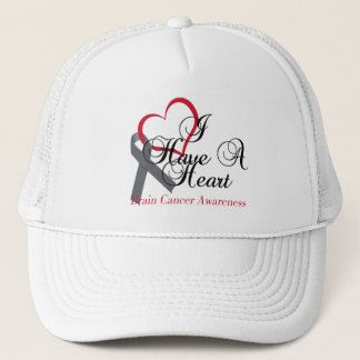 I Have A Heart For Brain Cancer Awareness Trucker Hat