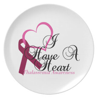 I Have A Heart For Burgundy Awareness Thalassemia Party Plate