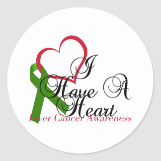 I Have A Heart Liver Cancer Awareness & Support Classic Round Sticker