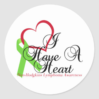 I Have A Heart Non-Hodgkins Lymphoma Awareness Round Sticker