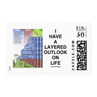 I Have A Layered Outlook On Life (Geology Humor) Postage