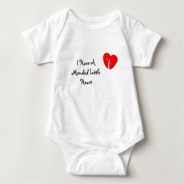 Valentines Themed I Have A Mended Little Heart Baby Bodysuit