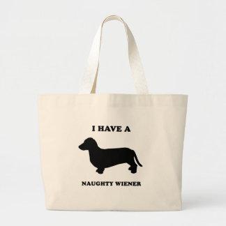 I have a naughty wiener jumbo tote bag
