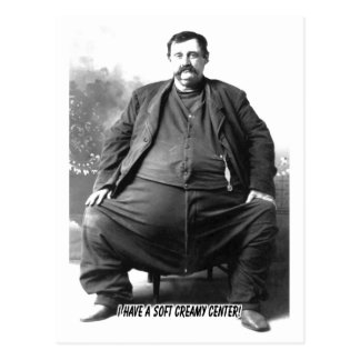 I Have A Soft Creamy Center ~ Fat Carnival Man Postcard