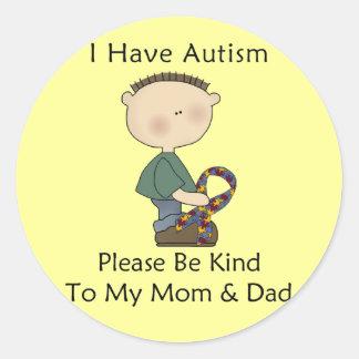 I Have Autism boy Round Stickers