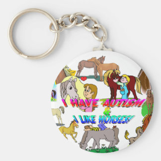i have autism n like horses basic round button keychain