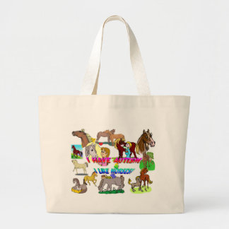 i have autism n like horses large tote bag