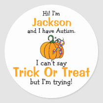 """""""I have Autism"""" Trick Or Treat stickers"""
