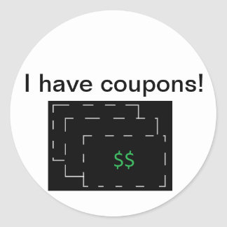 I have coupons! classic round sticker