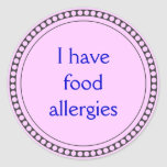 I have food allergies stickers