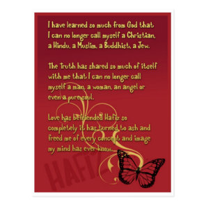I have learned so much from God poem by Hafiz Postcard