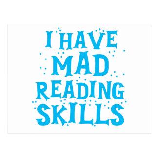 i have mad reading skills postcard