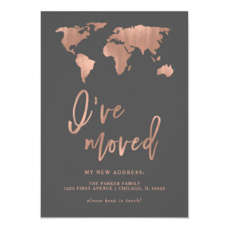 I Have Moved Announcement | Faux Rose Gold Map