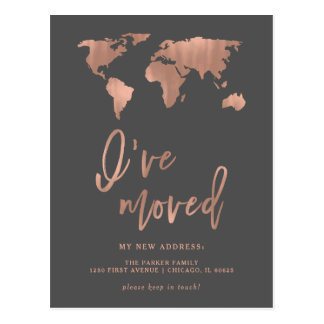 I Have Moved Announcement | Faux Rose Gold Map Postcard
