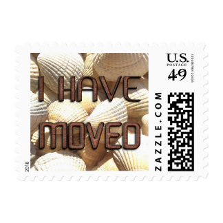I have moved, New Address Shells Stone Bricks Text Postage