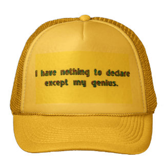 I have nothing to declare except my genius.-Hat