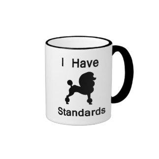 I Have Standards (Poodle) Ringer Coffee Mug
