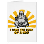 i have the body of a god greeting cards