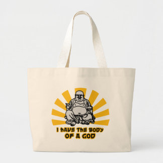 i have the body of a god large tote bag