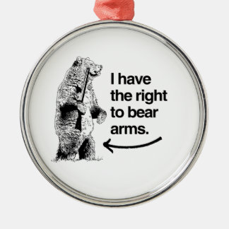 I HAVE THE RIGHT TO BEAR ARMS ROUND METAL CHRISTMAS ORNAMENT