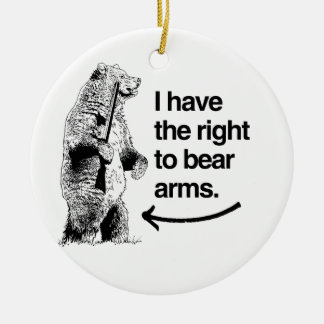 I HAVE THE RIGHT TO BEAR ARMS Double-Sided CERAMIC ROUND CHRISTMAS ORNAMENT