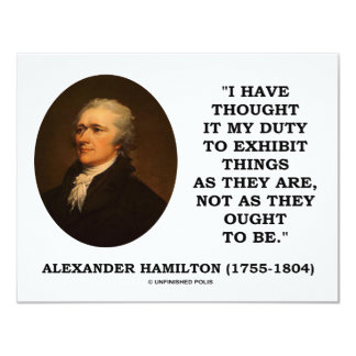 """I Have Thought It My Duty To Exhibit Things Quote 4.25"""" X 5.5"""" Invitation Card"""