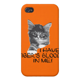 I Have Tiger's Blood In Me black & white2 iPhone 4 Cover