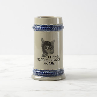 I Have Tiger's Blood In Me black & white2 18 Oz Beer Stein