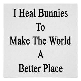 I Heal Bunnies To Make The World A Better Place Poster