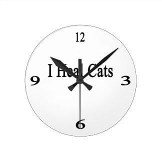I Heal Cats Round Clock