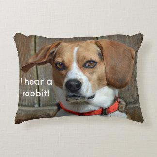 I Hear A Rabbit! Beagle Hound Decorative Pillow