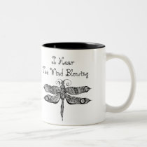 artsprojekt, whimsy, dragonfly, libelula, insect, drawing, whimsey, quote, wind, blackandwhite, teen, ink, young, Mug with custom graphic design