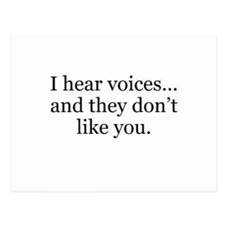 i hear voices postcard