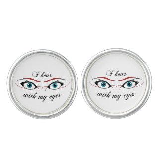 I hear with my eyes O Cufflinks, Silver Plated Cufflinks