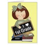 i heart 1st grade seslar teacher greeting card
