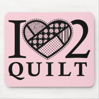 I Heart 2 Quilt by FiberFlies Mouse Pad