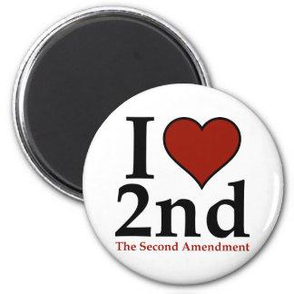 I Heart 2nd (Second Amendment) 2 Inch Round Magnet