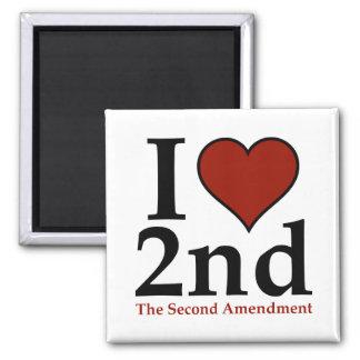 I Heart 2nd (Second Amendment) 2 Inch Square Magnet