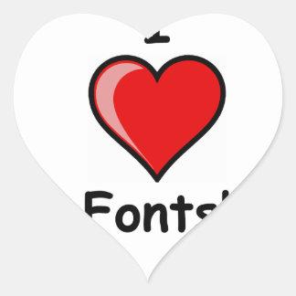 I Heart ( <3 Love) Fonts Heart Sticker