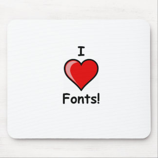 I Heart ( <3 Love) Fonts Mouse Pad