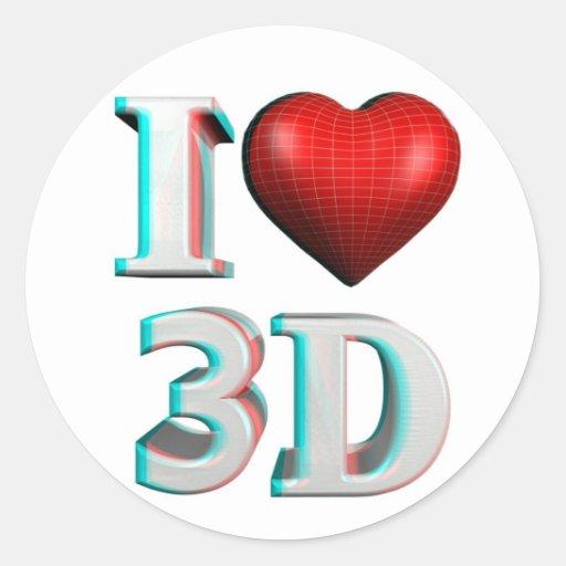 I heart 3D Classic Round Sticker