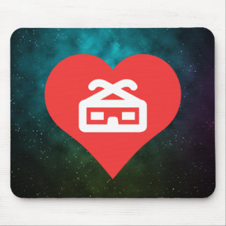 I Heart 3d Glasses Mouse Pad