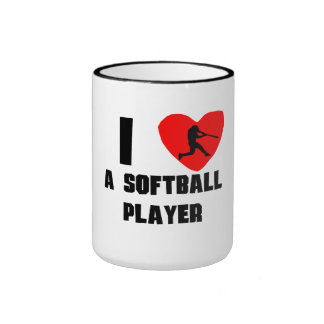I Heart A Softball Player Ringer Coffee Mug
