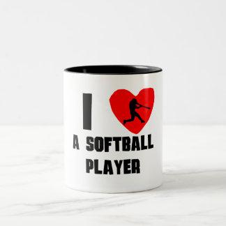 I Heart A Softball Player Two-Tone Coffee Mug