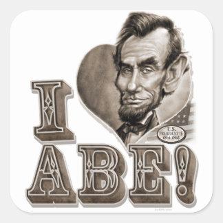 I Heart Abe Lincoln Square Sticker