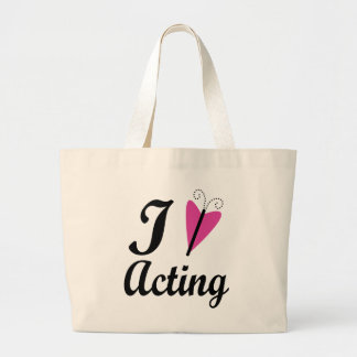 I Heart Acting Pink Butterfly Tote Bags