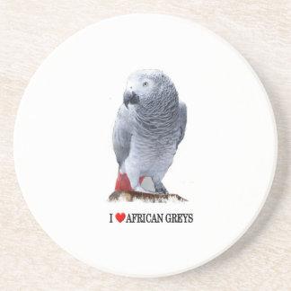 I heart African greys Beverage Coaster